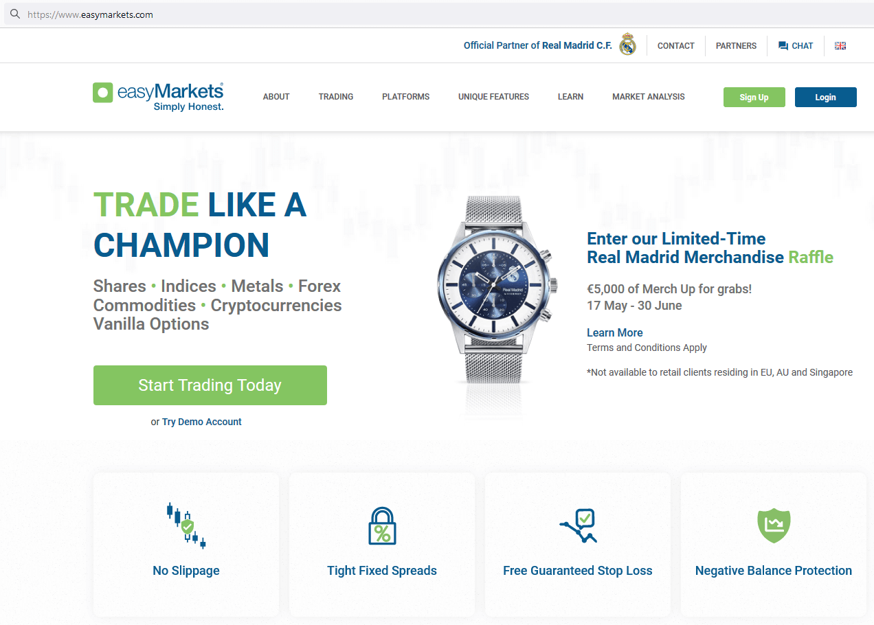 easyMarkets website